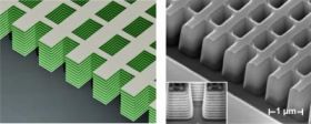 "On the left is a schematic of the first 3-D ""fishnet"" metamaterial that can achieve a negative index of refraction at optical frequencies. On the right is a scanning electron microscope image of the fabricated structure, developed by UC Berkeley researchers. The alternating layers form small circuits that can bend light backwards. Image by Jason Valentine, UC Berkeley"